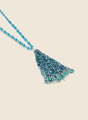 Bead & Tassel Necklace, Blue,  necklace, tassel, beads, faceted, spring summer 2020