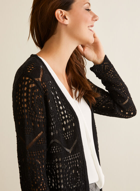 Long Open Front Crochet Cardigan, Black
