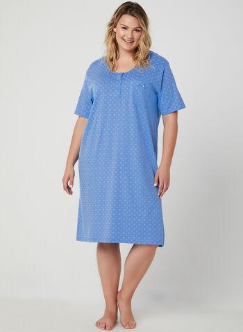 Bellina - Chemise de nuit motif fantaisie, Bleu, hi-res,  chemise de nuit, fantaisie, manches courtes, boutons, coton, printemps été 2019