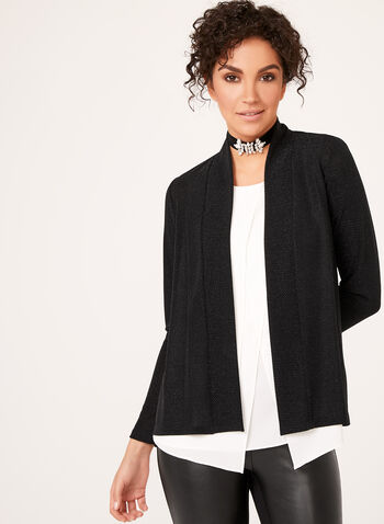 Metallic Open Front Cardigan , Black, hi-res