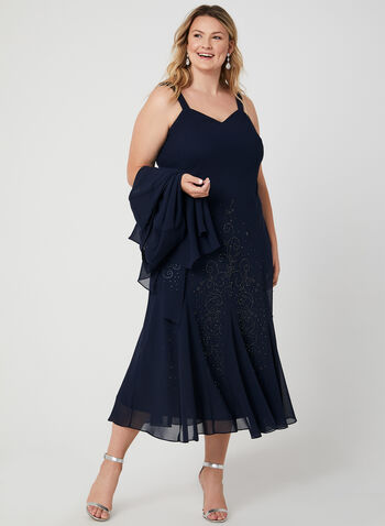 Beaded Crepe Dress & Top Set, Blue, hi-res,  Fall 2019, winter 2019, crepe, open front top, dress, beads, v-neck, occasion, evening
