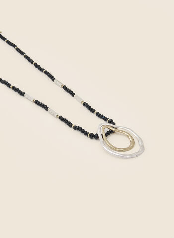 Oval Ring Pendant Necklace, Black,  necklace, beads, metallic, oval, hammered, 2-tone, fall winter 2020