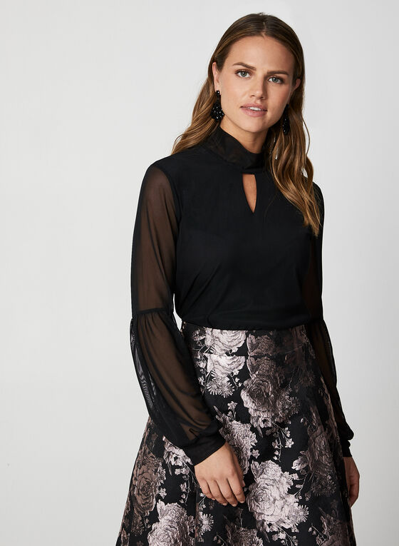 Long Sleeve Mesh Top, Black