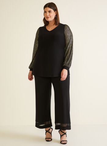 Wide Leg Pull-On Pants, Black,  fall winter 2020, made in canada, mesh, jersey, stretch, pull on waist, slip on, holiday
