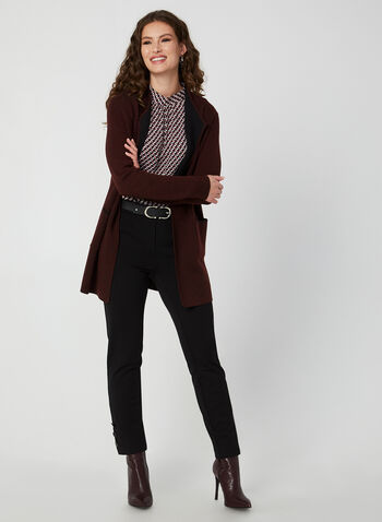 Long Two Tone Cardigan, Purple,  long sleeves, contrast trim, wool, pockets, fall 2019, winter 2019