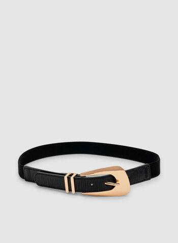 Asymmetric Buckle Elastic Belt, Black, hi-res
