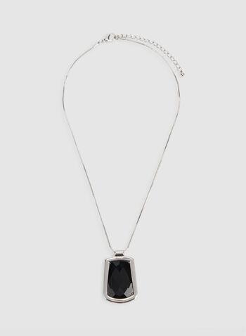 Collier court à pendentif géométrique, Noir, hi-res,  géométrique, pierre facettée, chaîne, automne hiver 2019