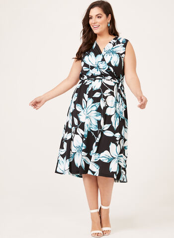 Floral Print Surplice Dress, Black, hi-res