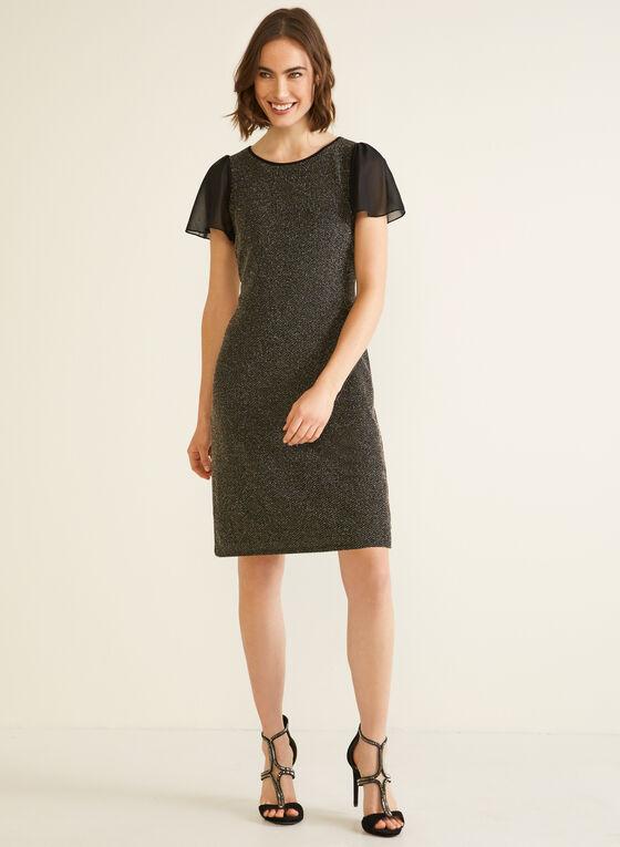 Metallic Knit Chiffon Sleeve Dress, Black