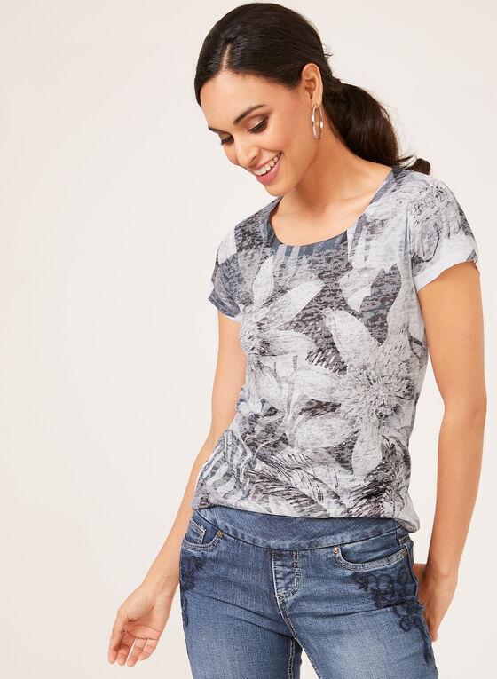 Vex - T-shirt fleuri à manches courtes et détails strass, Noir, hi-res