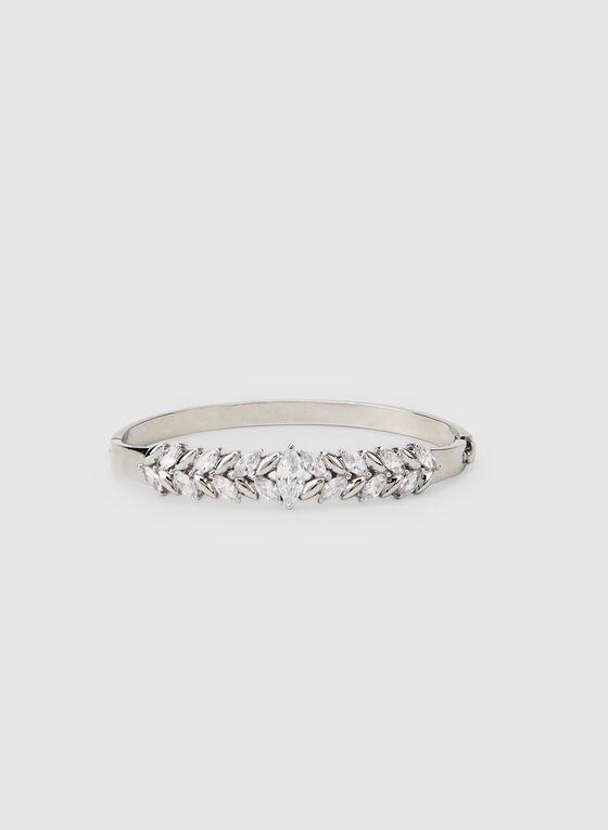 Leaf Crystal Hinge Bracelet , Silver
