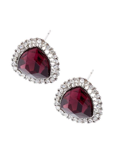 Boucles d'oreilles effet rubis avec bordure en cristaux , Pourpre, hi-res