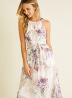 Floral Print Cleo Neck Dress, White
