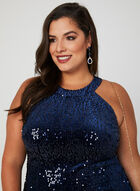 Sequin Velvet Dress, Blue, hi-res