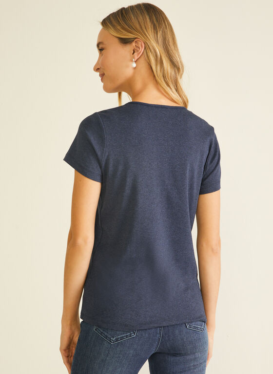T-shirt en coton à broderie anglaise, Bleu