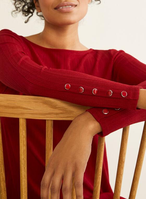 Tunique asymétrique à boutons décoratifs, Rouge