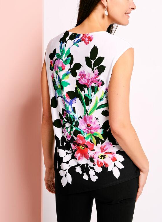 Blouse asymétrique à fleurs sans manches, Noir, hi-res