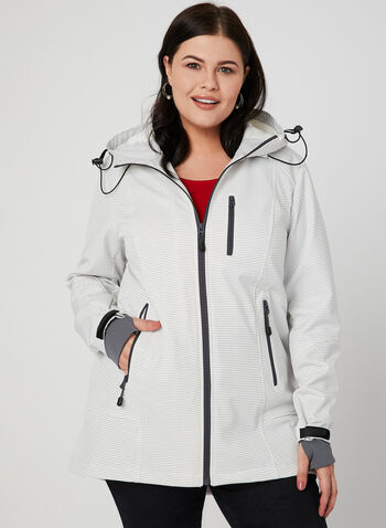 Novelti - Dot Print Raincoat, Off White,  raincoat, softshell, hood, coat, spring 2019