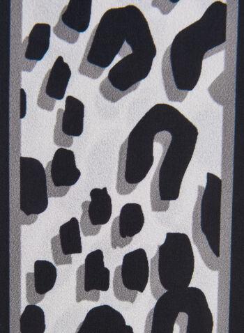 Foulard cravate motif animalier et fausse fourrure, Noir,  foulard cravate, animalier, fausse fourrure, léopard, automne hiver 2019