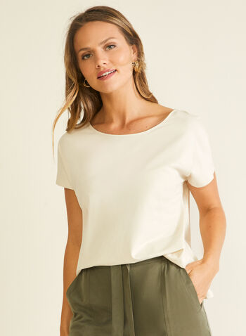 Cotton & Modal T-Shirt, Grey,  t-shirt, modal, cotton, short sleeves, scoop neck, spring summer 2020