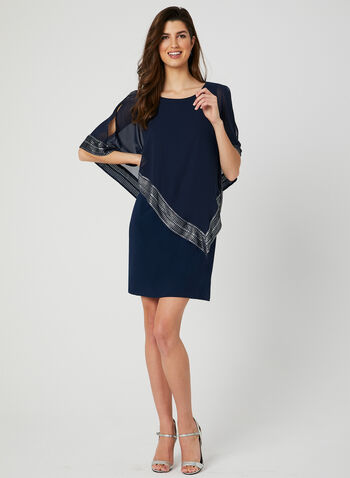 Chiffon Poncho Dress, Blue, hi-res