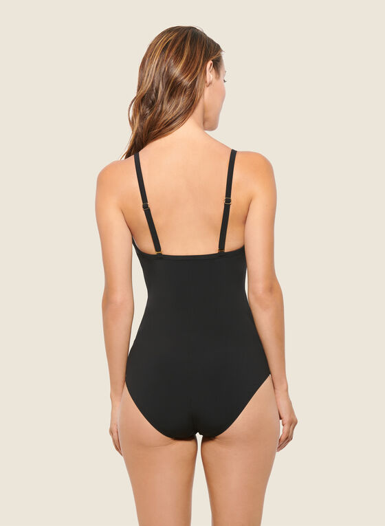 Christina - Square Print One-Piece Swimsuit, Black