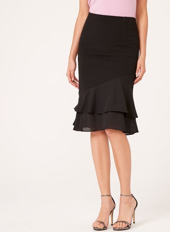 Crepe Layered Ruffle Detail Skirt , , hi-res