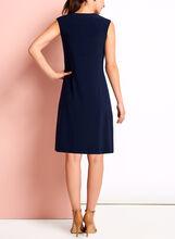 Scoop Neck Trapeze Dress, Blue, hi-res
