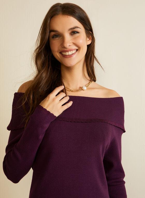 Tunique en tricot à épaules dénudées, Violet