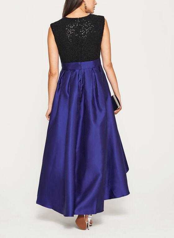 Sequin Lace Taffeta Gown, Multi