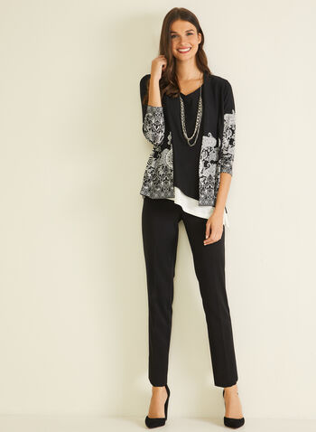 Paisley Print Open Front Top, Black,  top, open front, 3/4 sleeves, paisley, fall winter 2020