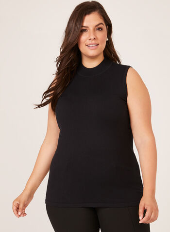 Mock Turtleneck Tank Top, Black, hi-res