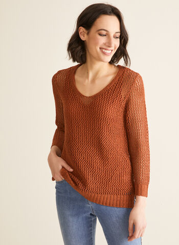 Crochet Sweater With Tank, Brown,  sweater, 3/4 sleeves, rounded v-neck, crochet, high low, jersey, tank, spring summer 2020