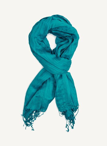Lustrous Fringed Solid Colour Scarf, Blue, hi-res