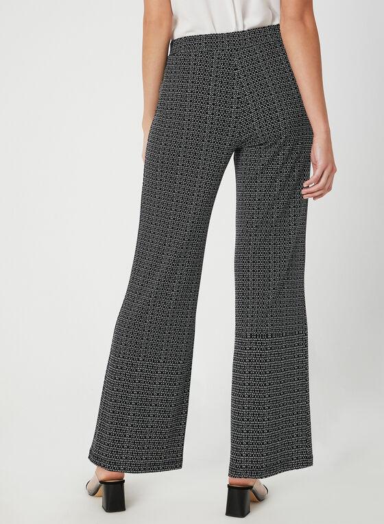 Pantalon coupe moderne à motif abstrait, Noir