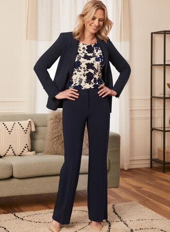 Louben - Pantalon coupe moderne à jambe large, Bleu,  pantalon, coupe moderne, jambe large, taille mi-haute, fermeture éclair, double attaches, pinces, fait au Canada, printemps été 2021