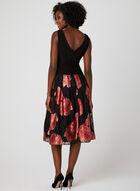 Robe drapée sans manches avec jupe fleurie, Noir, hi-res