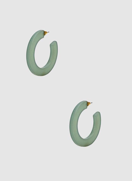 Hoop Earrings, Green, hi-res