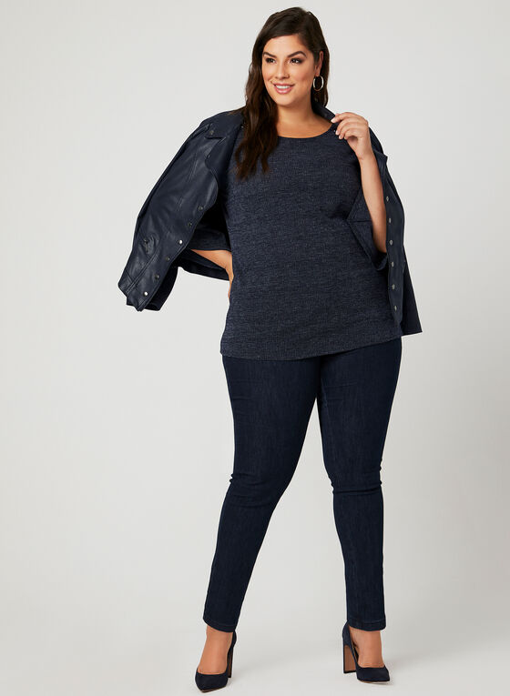 Angel Sleeve Jersey Knit Top, Blue, hi-res