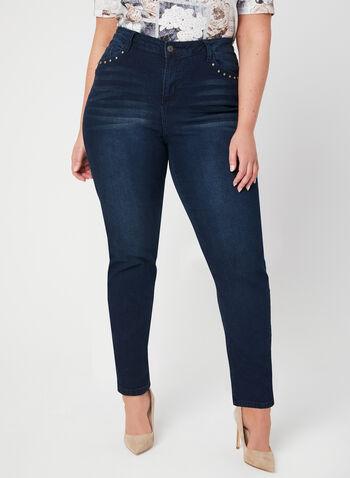 GG Jeans - Jean coupe signature à jambe droite, Bleu, hi-res