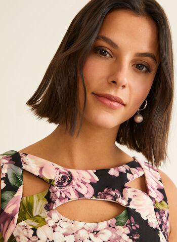 Floral Fit & Flare Dress, Black,  day dress, floral, fit & flare, sleeveless, cutout, scuba, spring summer 2020
