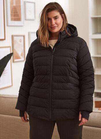Manteau matelassé à duvet recyclé, Noir,  automne hiver 2021, manteau, extérieur, exclusivité laura, col montant, capuchon amovible ajustable, cordons de serrage, manches longues, poignets en tricot épais, trou pour le pouce, poches doublées, molleton, matelassée, tissu extensible, faux duvet, lavable à la machine, imperméable, bourrure recyclée, bouteilles d'eau recyclées, repreve