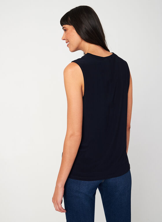Sleeveless V-neck Blouse, Blue