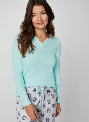 Pillow Talk - Three-Piece Pyjama Set, Blue, hi-res,  Pillow Talk, pyjama, sleepwear, owl print, socks, fall 2019, winter 2019