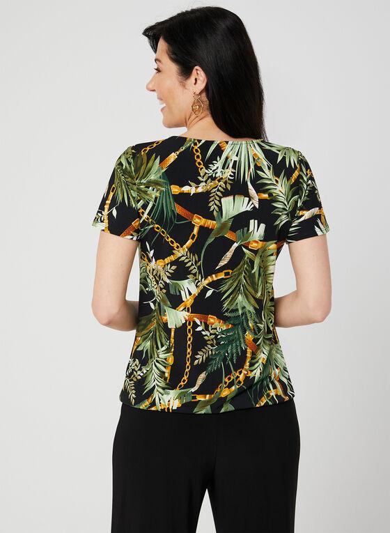 Haut en jersey à imprimé tropical, Noir