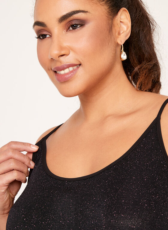 Sleeveless Glitter Crepe Top , Black, hi-res