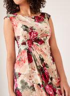 Robe fleurie style enveloppe en jersey, Rouge, hi-res