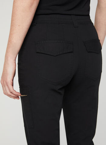 Modern Fit Cargo Capri Pants, Black, hi-res