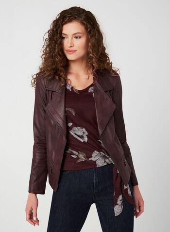 Vex - Veste aspect cuir à zips décoratifs, Rouge, hi-res,  automne hiver 2019, veste, perfecto, similicuir, faux cuir, zip