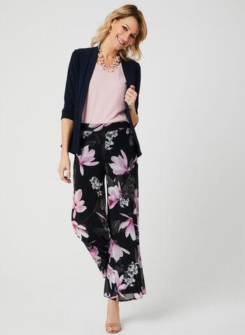 Pantalon coupe moderne en mousseline fleurie, Bleu, hi-res,  floral, imprimé floral, imprimé floral surdimensionné, pull-on, pull on, taille élastique, printemps 2019